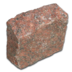 Đá cubic 10x10x8cm granite đỏ Bình Định chẻ tay