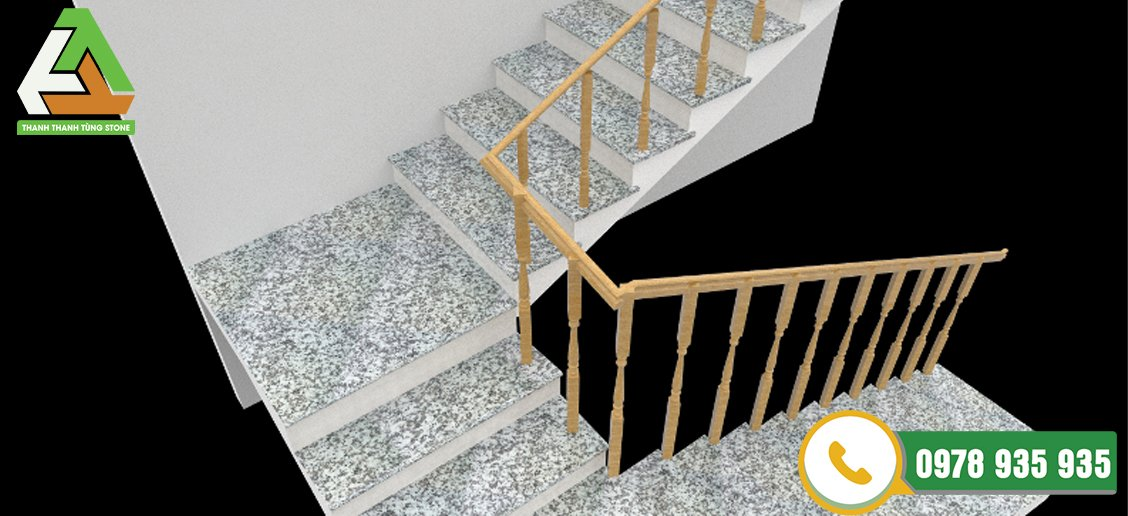 Đá granite trắng suối lau được dùng để ốp cầu thang