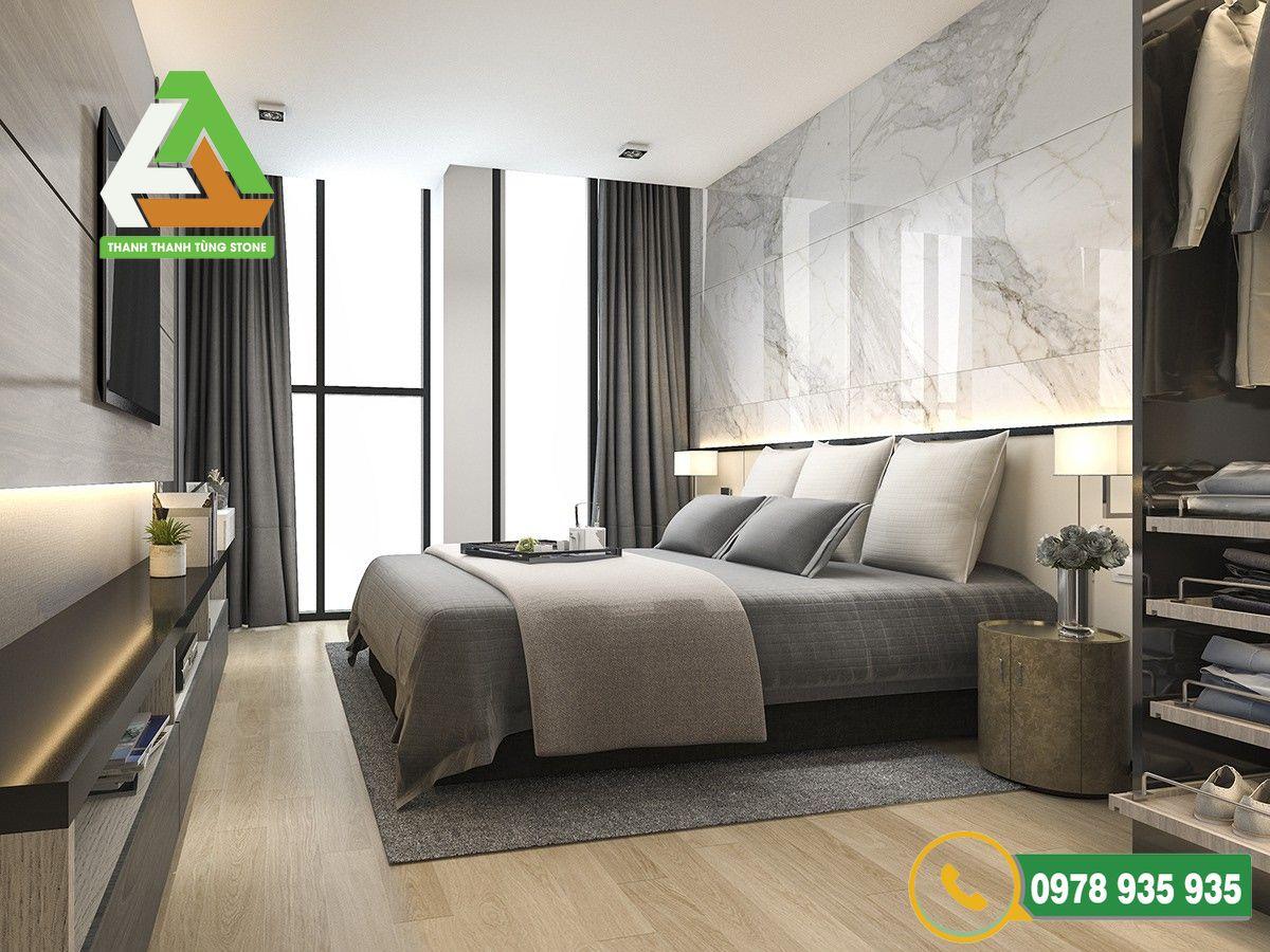 Sử dụng đá ốp tường trong phòng ngủ thanh lịch