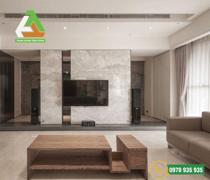Lựa chọn mẫu đá ốp tường phù hợp với không gian phòng khách