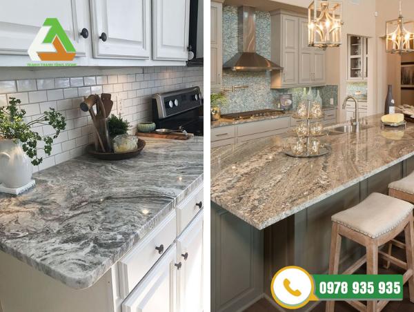 Mặt bàn bếp được làm từ đá granite dễ lau chùi vệ sinh cho không gian sang trọng