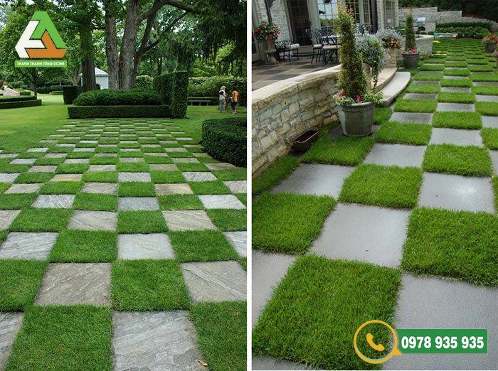 Thi công đá lát sân vườn kết hợp trồng cỏ