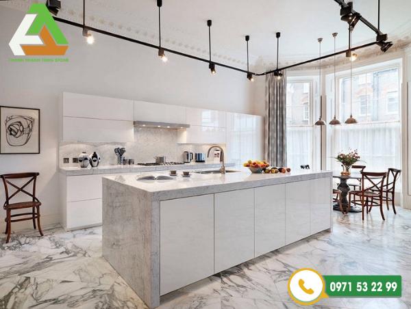 Sử dụng đá ốp lát nền nhà cùng tông màu với nội thất giúp không gian như thay đổi một diện mạo mới