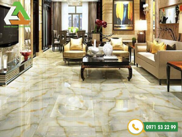 Nếu căn phòng có diện tích trên 15m2 thì kích thước đá ốp lát nền nhà chuẩn nhất là 60x60 cm là đẹp nhất