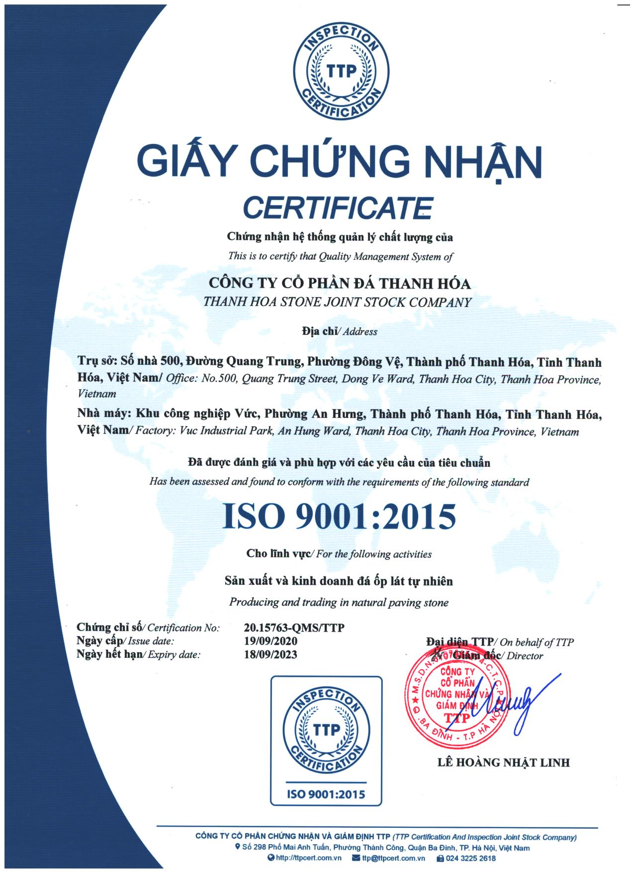 Giấy chứng nhận ISO Hợp Quy, CO / CQ đá Thanh Hóa