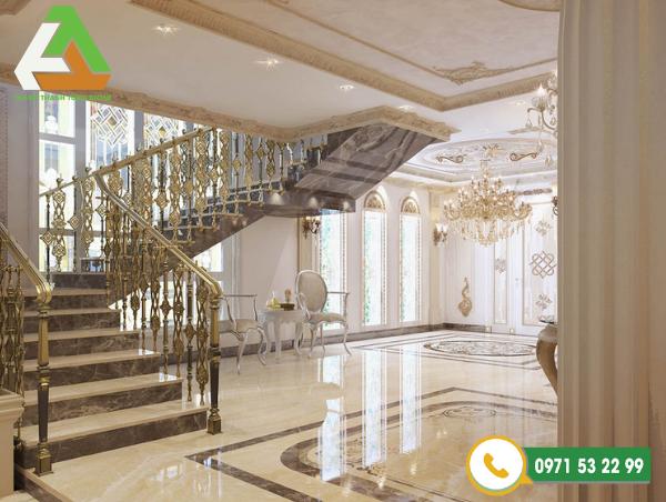 Cầu thang được thiết kế tinh tế, hiện đại