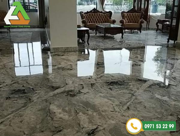 Đá marble ốp nền phòng khách sang trọng
